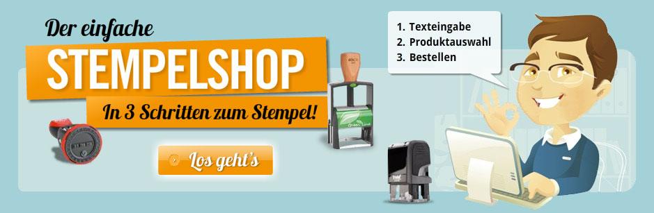 Der einfache Stempelshop! Klicken um in 3 Schritten zum Stempel zu kommen